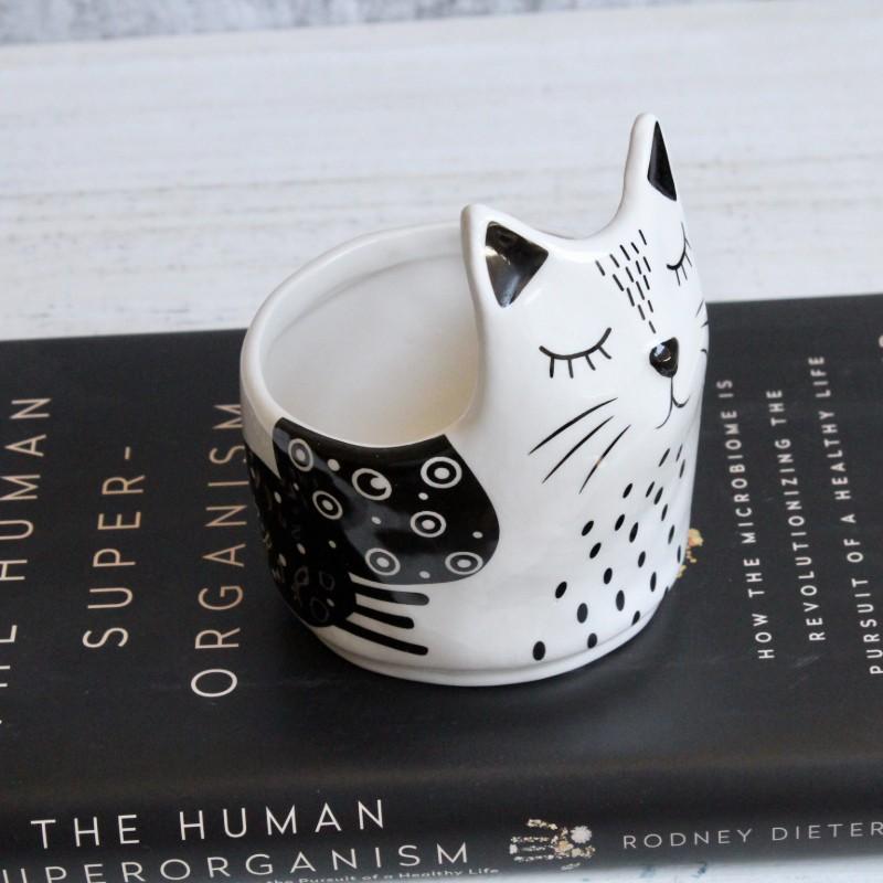 Black White Cat Planter