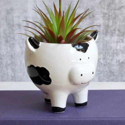 Black White Cow Planter Pot