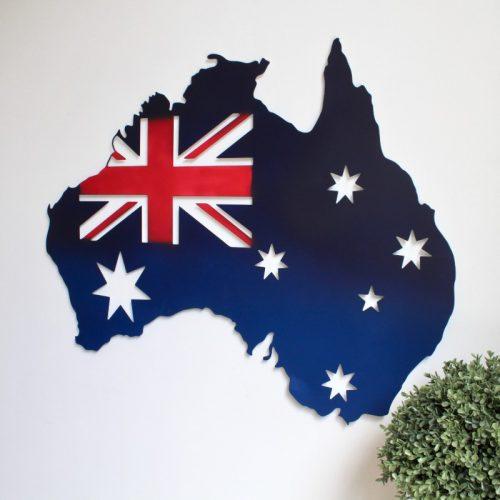 Blue Australia Map Metal Wall Art