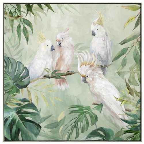 Cockatoo Parrots in Jungle Framed Canvas Wall Art