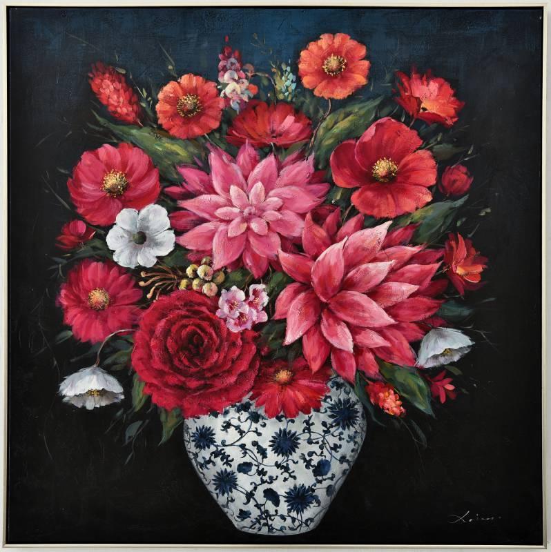 Flowers in Vase Framed Canvas Wall Art