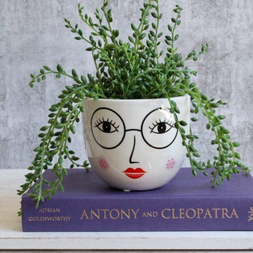 Girl Face Glasses Planter Pot