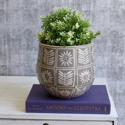 Grey Floral Leaves Planter Pot