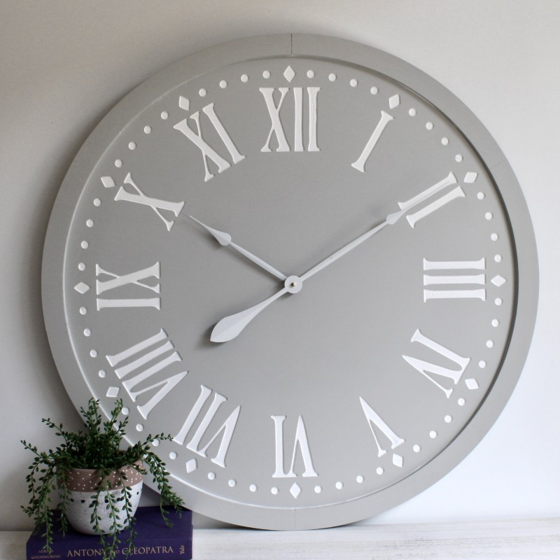 Grey White Wooden Wall Clock