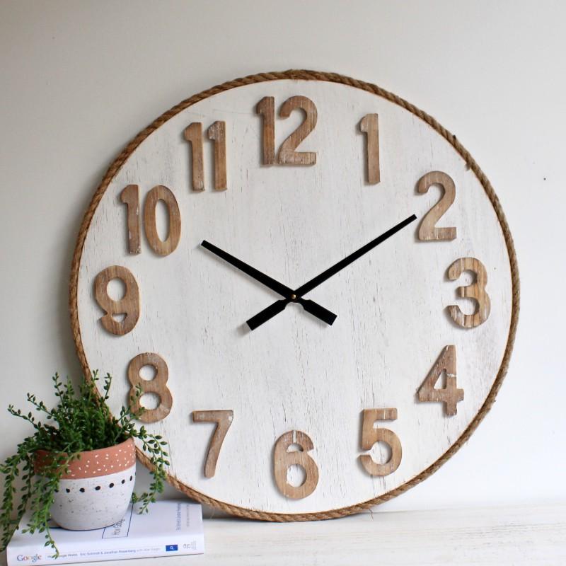 Hamptons Natural Whitewash Wooden Wall Clock