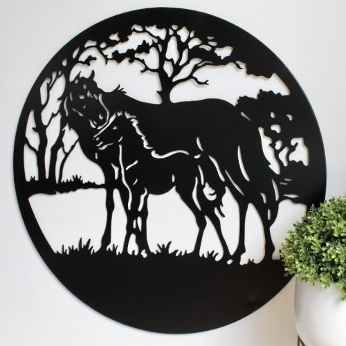 Horse Mother Baby Metal Wall Art