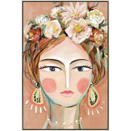 Lady Flower Head Framed Canvas Wall Art