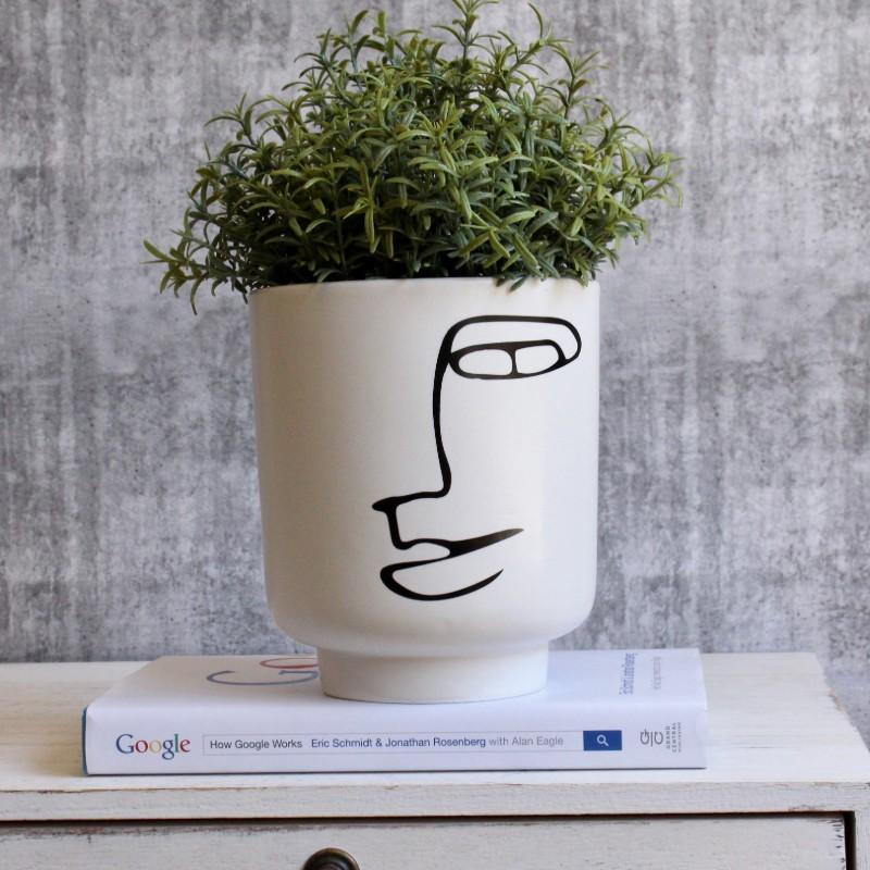 Minimal Abstract Face Planter Pot
