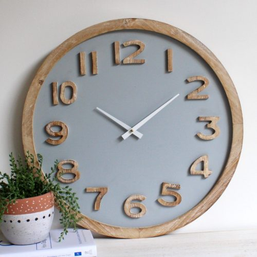 Natural Grey Wooden Wall Clock