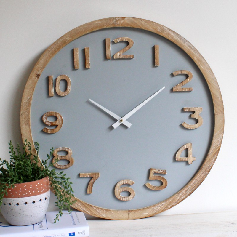 Natural Grey Wooden Wall Clock