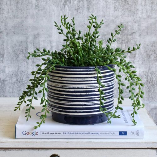 Navy White Lines Planter
