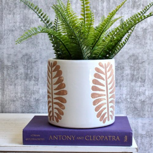 Terracotta White Leaf Ceramic Planter Pot