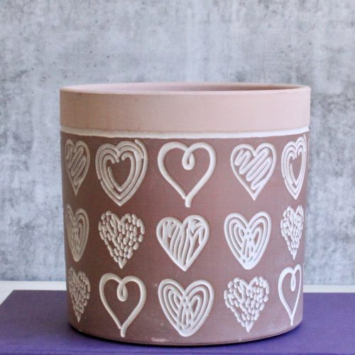 Dark Pink Love Heart Sketch Planter Pot