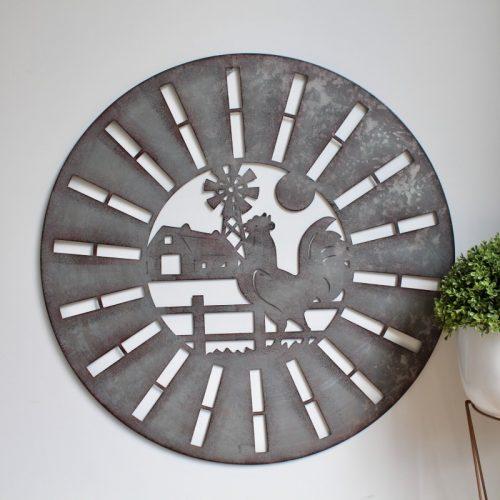 Rooster Windmill Barn Metal Wall Art