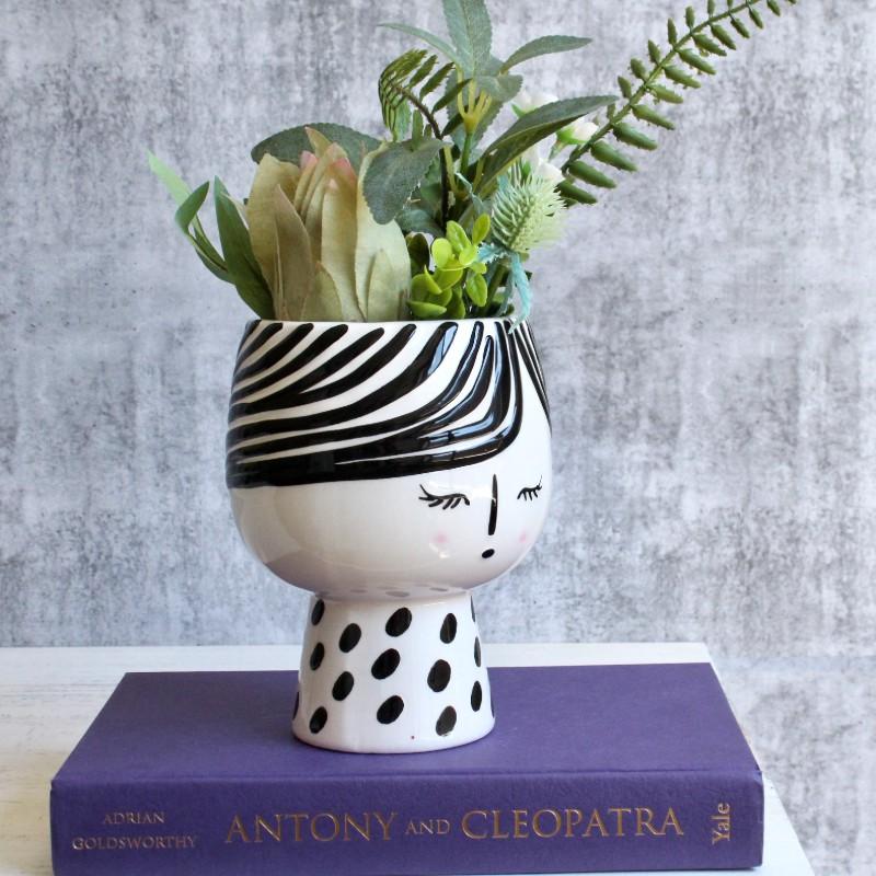 Shy White Girl Planter Pot Vase