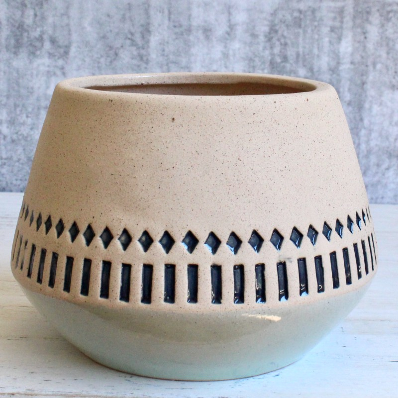 Tribal Aztec Ceramic Planter Pot