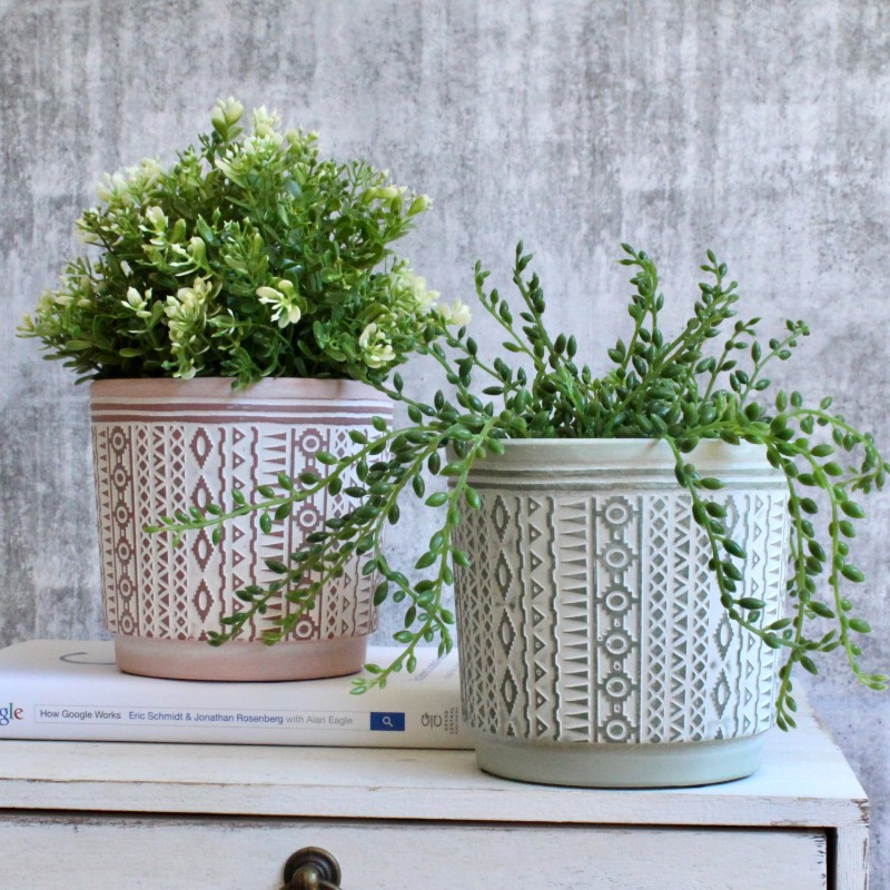 Terracotta Green Aztec Planter Pot