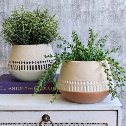 Tribal Aztec Ceramic Planter Pot
