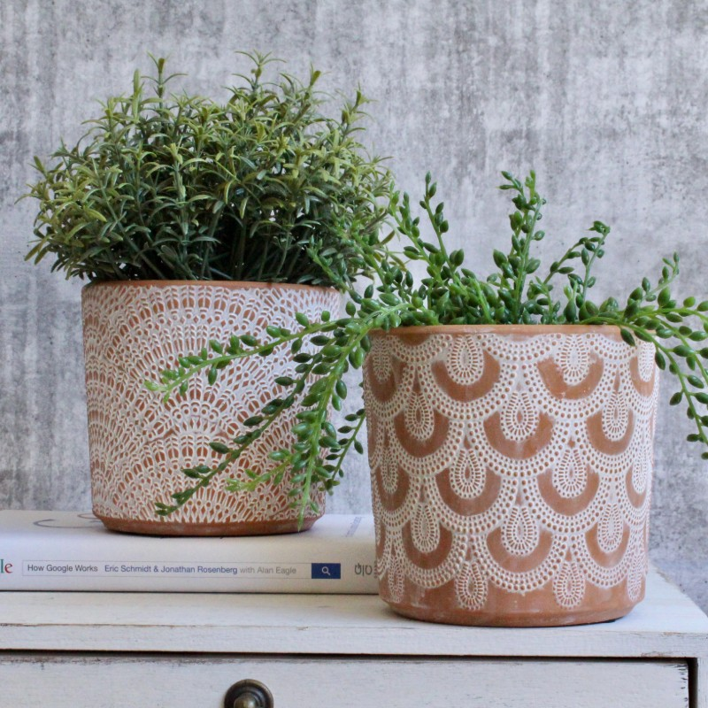 Terracotta White Lace Planter Pot