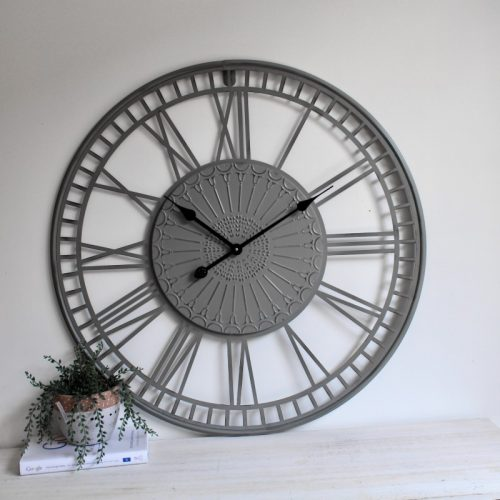 Tribal Grey Metal Wall Clock