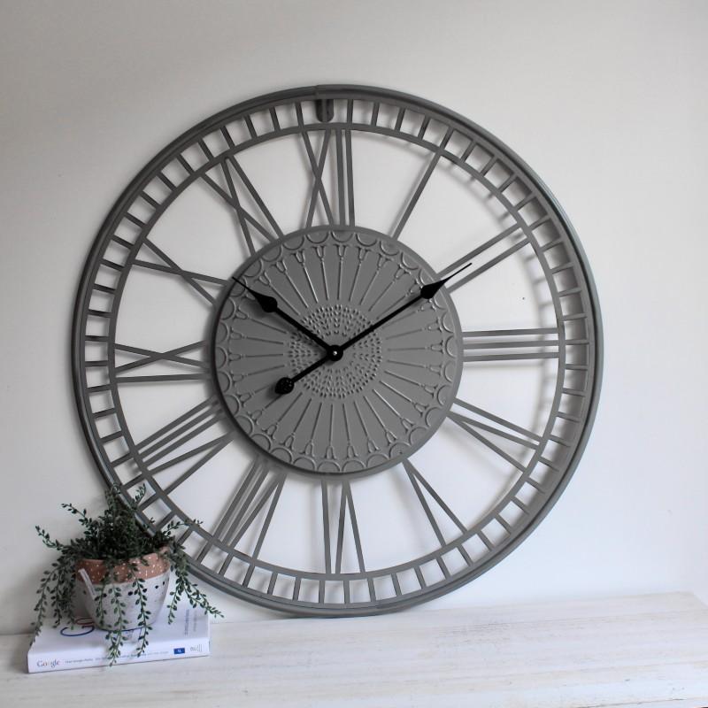Tribal Grey Metal Wall Clock