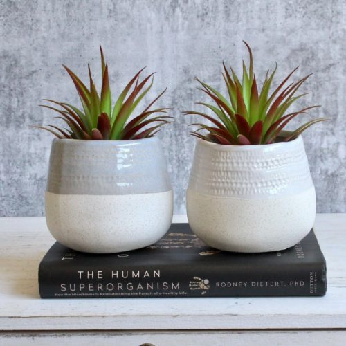 Tribal White Blue Planter