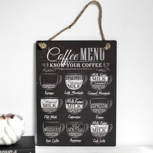 Black Coffee Menu Metal Wall Plaque Sign