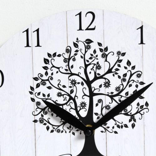 Black Tree Family Wooden Wall Clock