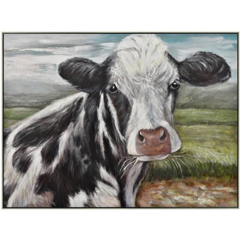 Black White Cow Framed Canvas Wall Art
