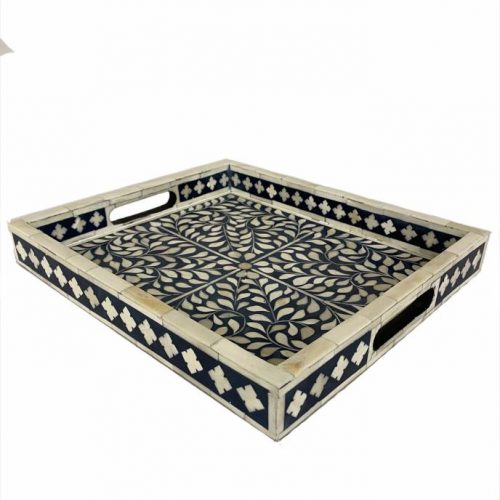 Blue Moroccan Bone Inlay Serving Tray