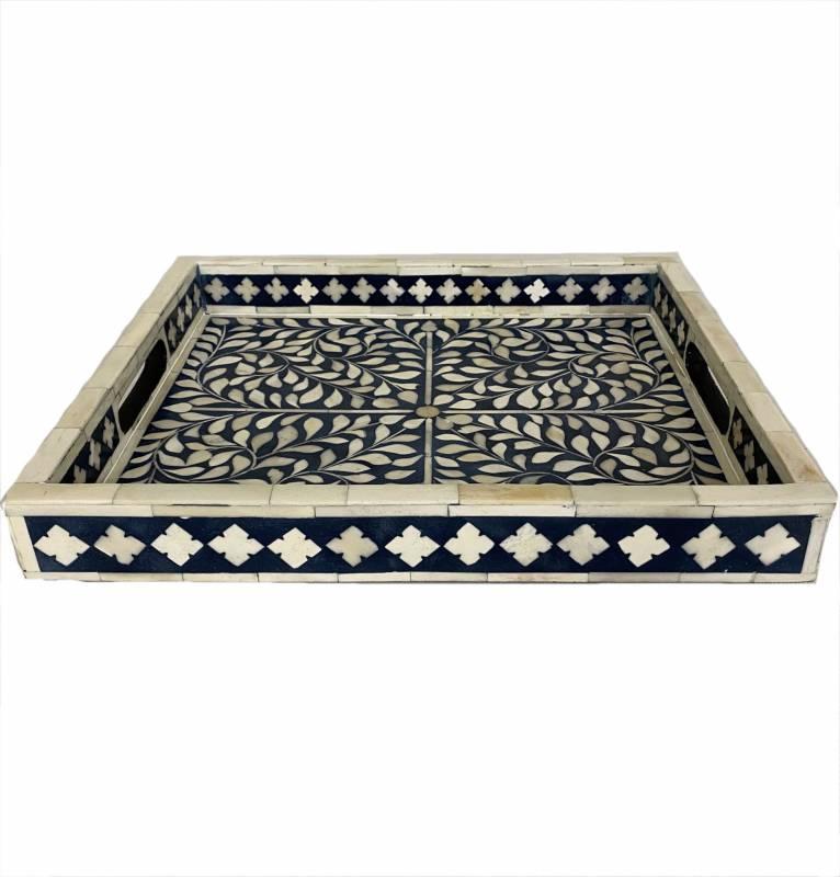 Blue Moroccan Bone Inlay Serving Tray