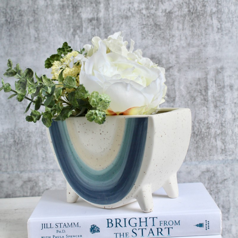 White Blue Rainbow Footed Planter Pot