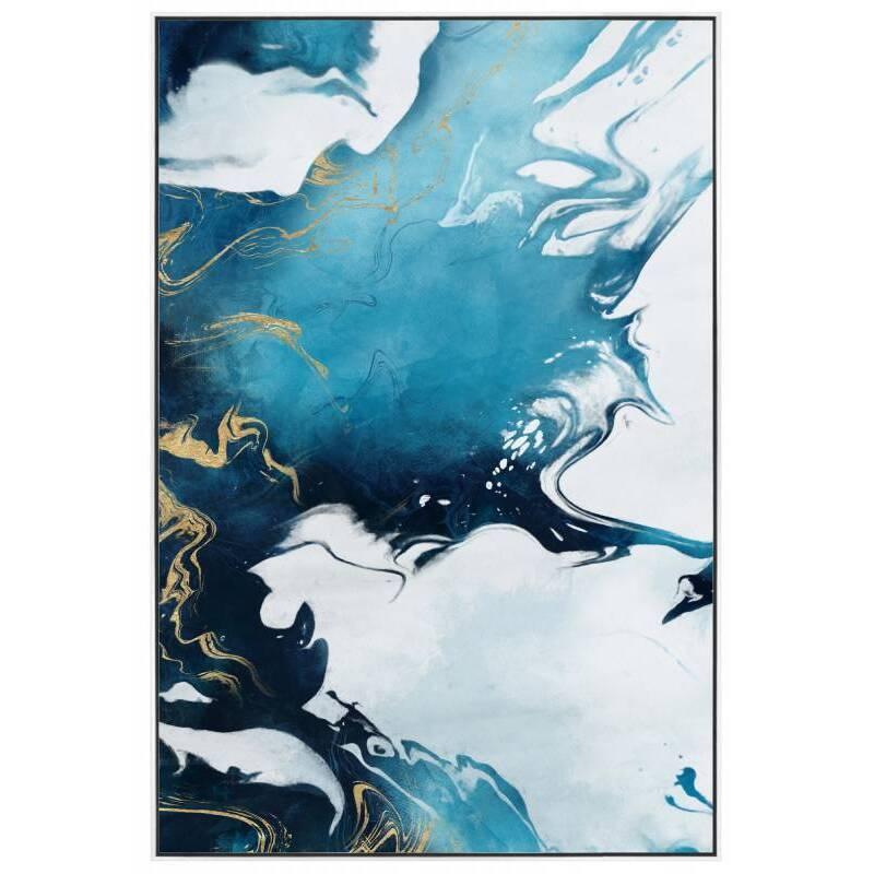 Blue Water Colour Framed Canvas Wall Art