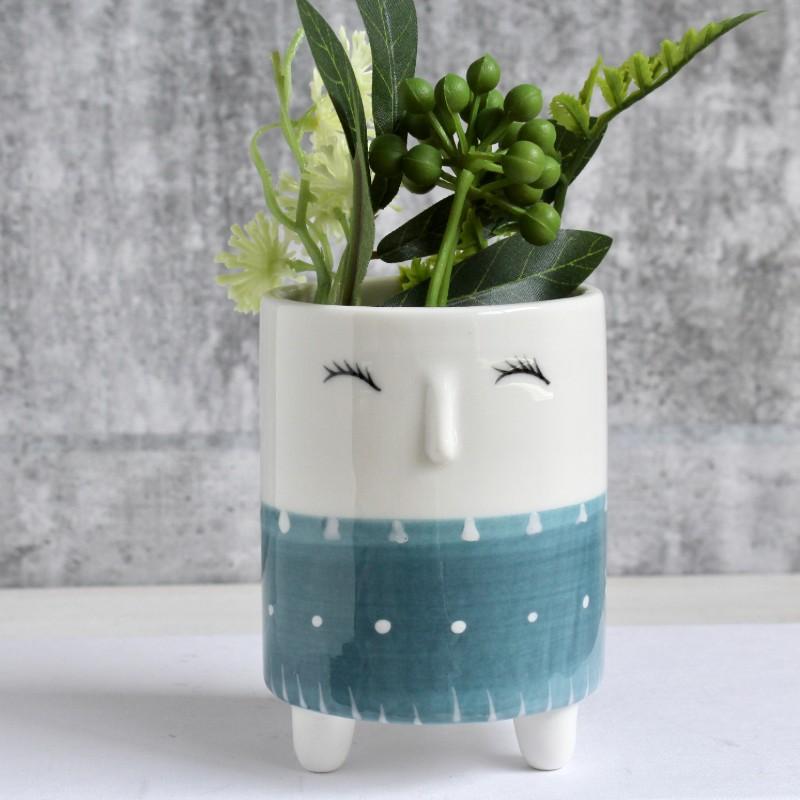 Blue Yellow Face Planter Pot