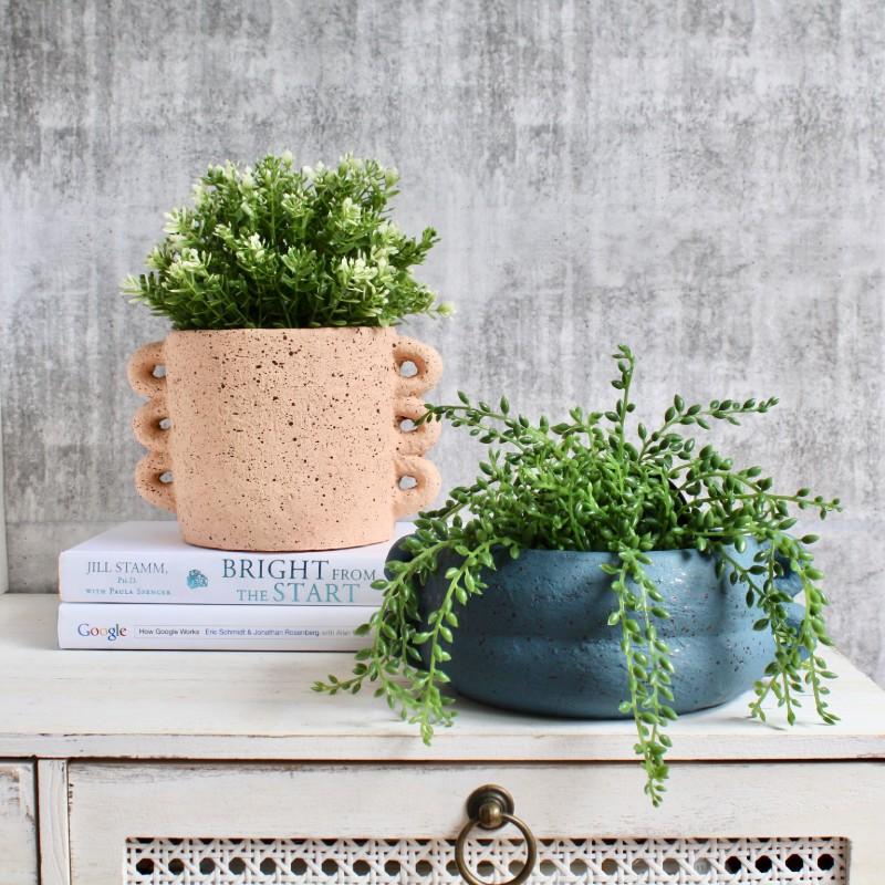 Blue Concrete Planter Pot with Handles