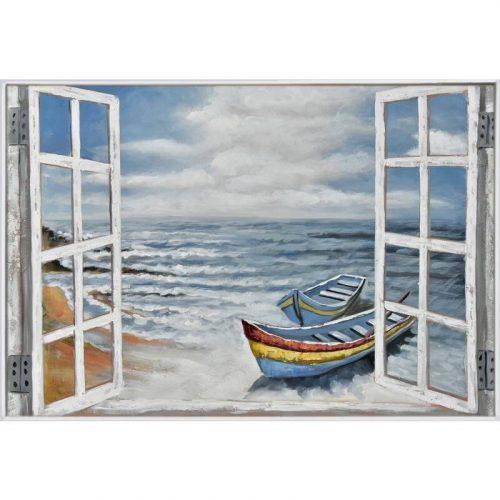 Boat on Beach Framed Canvas Wall Art