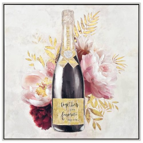 Champagne Bottle With Flowers Framed Canvas