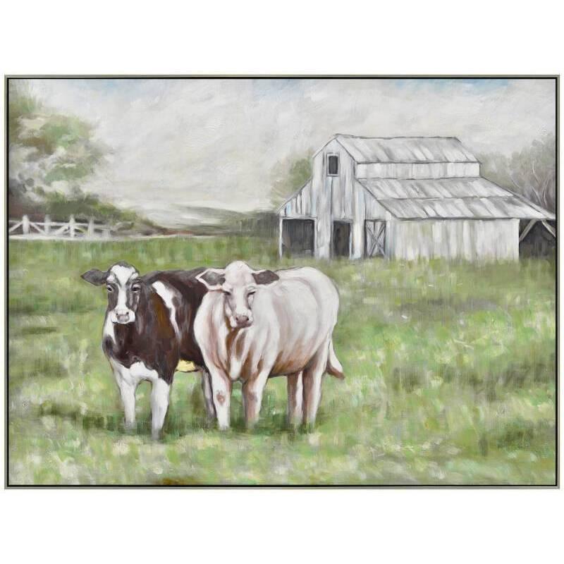 Cow Duo on Farm Framed Canvas Wall Art