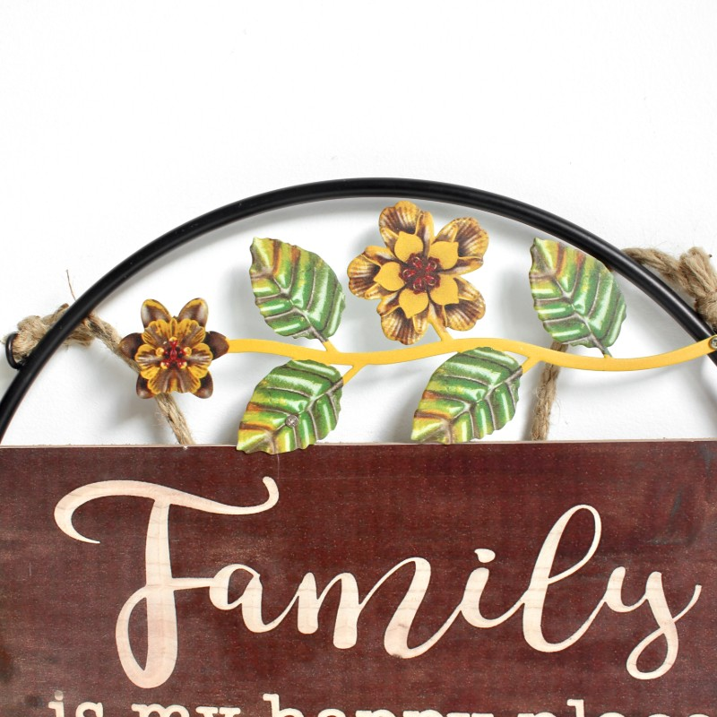 Family Happy Place Metal Timber Wall Art Decor