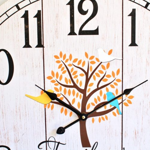 Large Family Tree Wooden Wall Clock