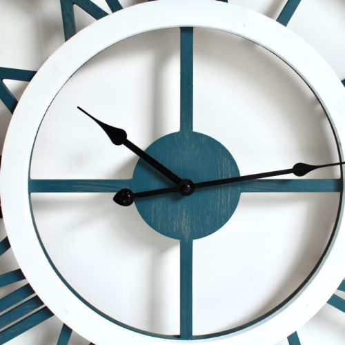 Large Blue White Floating Timber Wall Clock