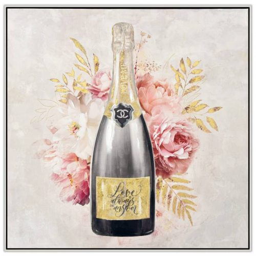 Floral Champagne Bottle Framed Canvas