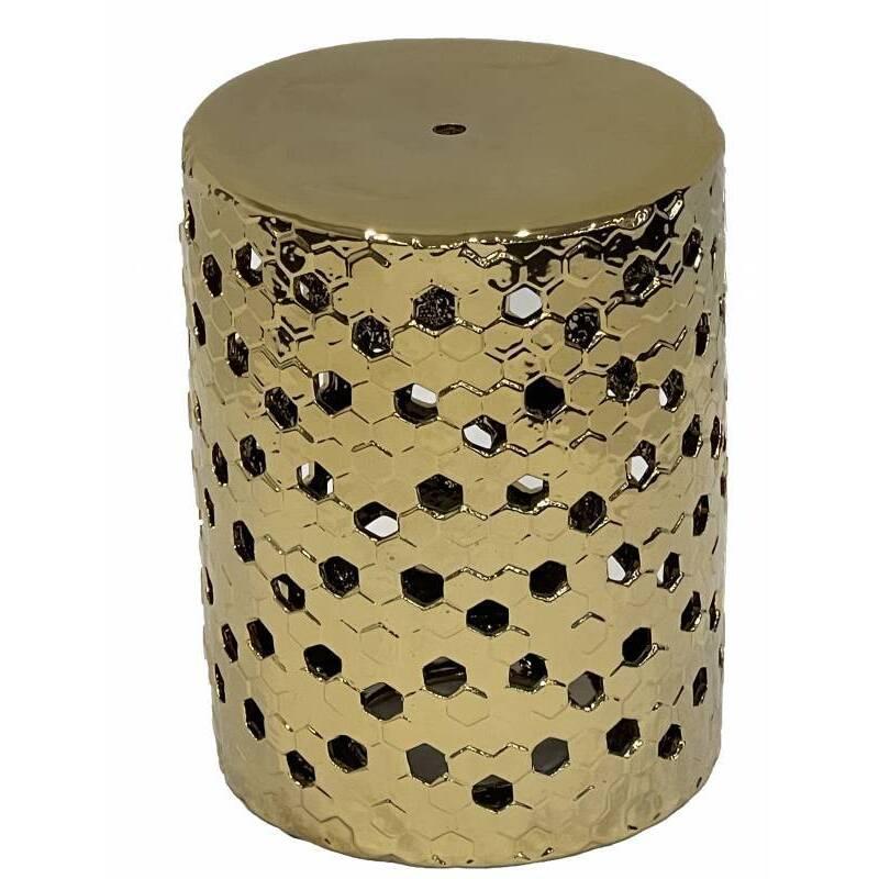 Golden Geometric Ceramic Accent Stool