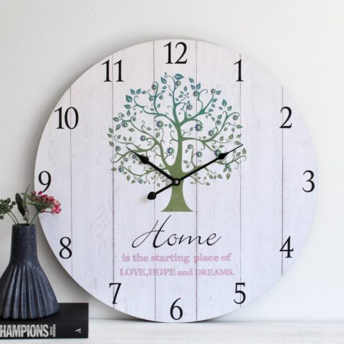 Large Green Tree Wooden Wall Clock