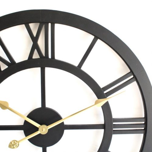 Large Black Timber Round Wall Clock