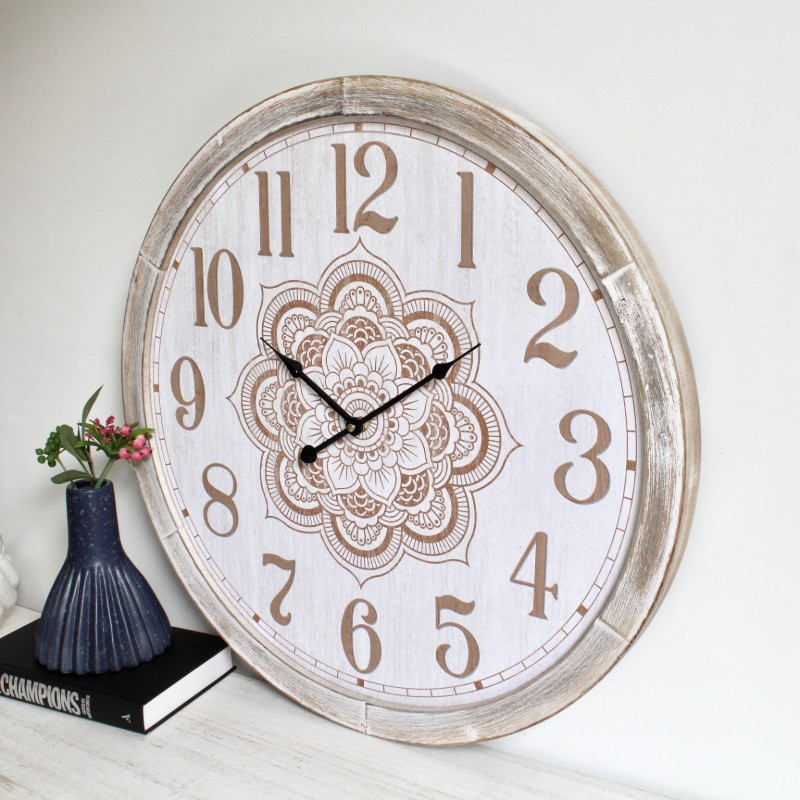 Large Hamptons Brown Mandala Wooden Wall Clock