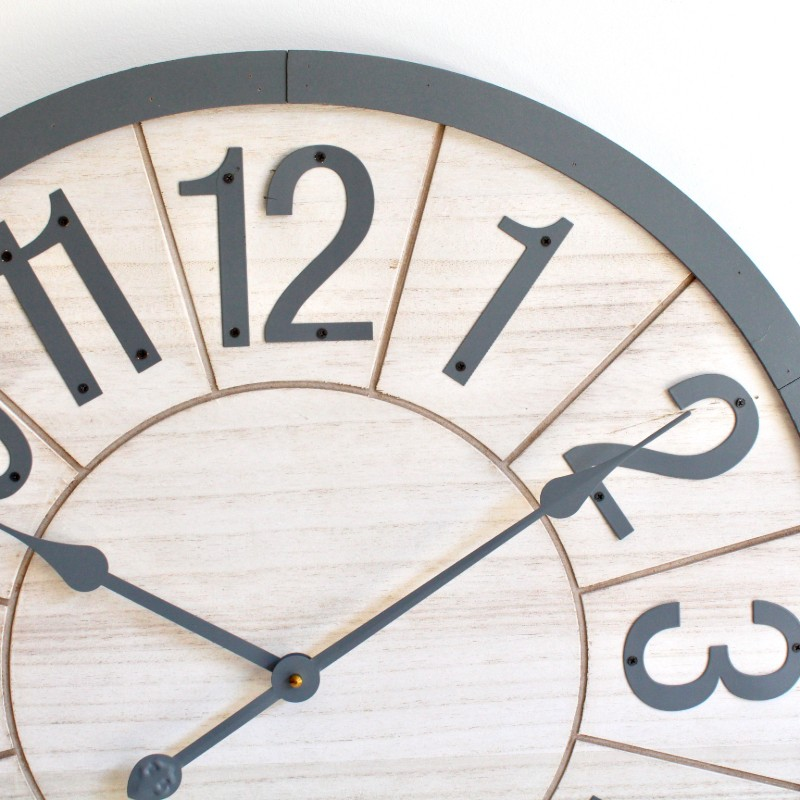 Large Round Natural Grey Wooden Wall Clock