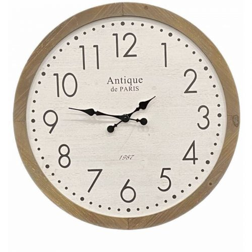 Large Whitewash Farmhouse Style Wooden Wall Clock