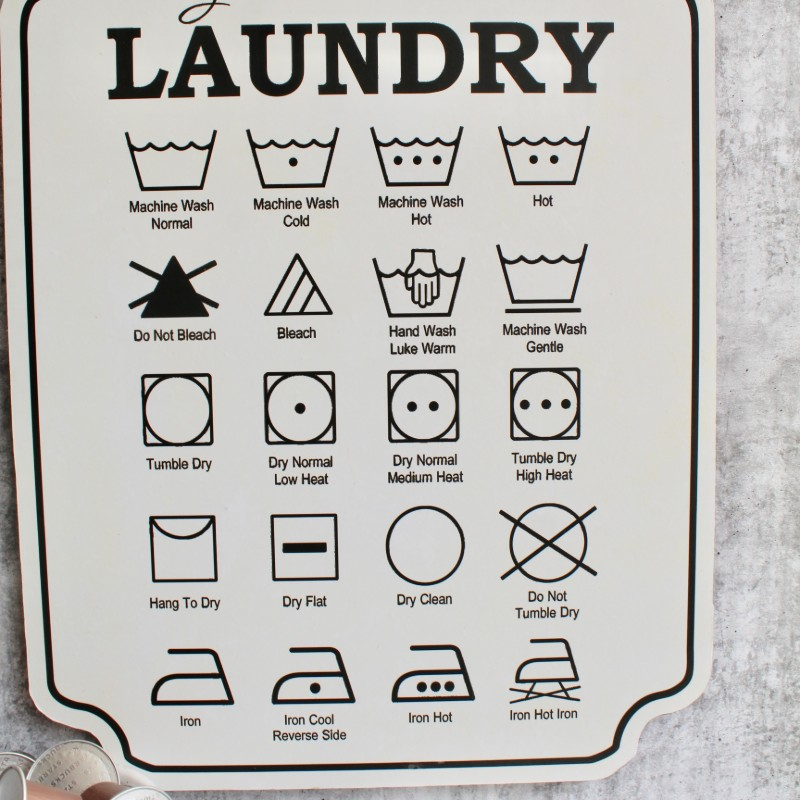 Laundry Wooden Wall Plaque Sign - White