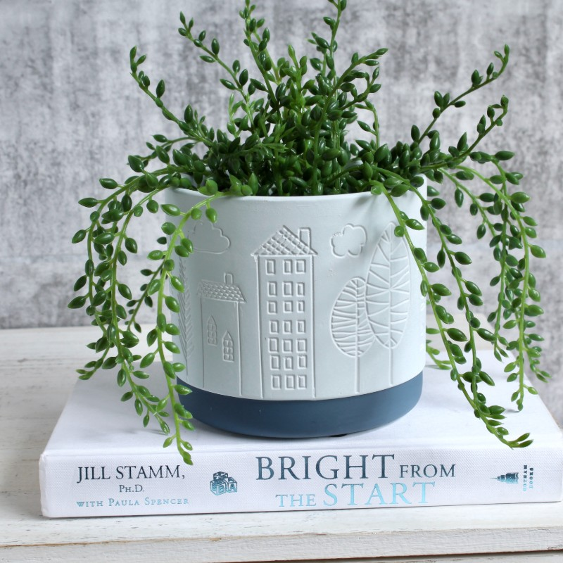 Light Blue Leaves Planter Pot